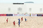 A general view during the Beach Soccer match between Kuwait and Vietnam during the 2014 Asian Beach Games at Saphan Hin on November 15 2014 in Phuket...