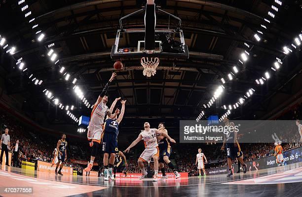 General view during the Beko Basketball Bundesliga match between Ratiopharm Ulm and Alba Berlin at ratiopharm Arena on April 19 2015 in Ulm Germany