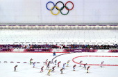 General view during the Biathlon Men's Relay at the Laura Crosscountry Ski Biathlon Center on February 22 2014 in Sochi Russia