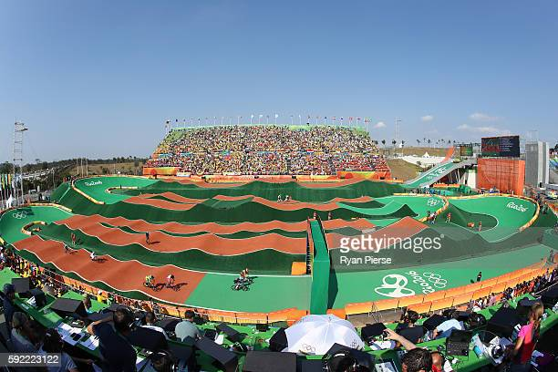 A general view during the BMX Semi Finals on day 14 of the Rio 2016 Olympic Games at the Olympic BMX Centre on August 19 2016 in Rio de Janeiro Brazil