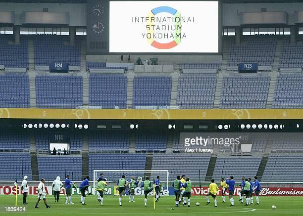A general view during the Brazil team training at the International Stadium Yokohama Yokohama Japan on June 29 2002