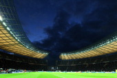 General view during the Bundesliga match between Hertha BSC Berlin and VFL Wolfsburg at Olympic Stadium on March 31 2012 in Berlin Germany