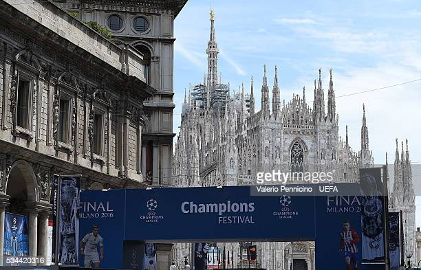A general view during the Champions Festival prior to the final at Stadio Giuseppe Meazza on May 26 2016 in Milan Italy