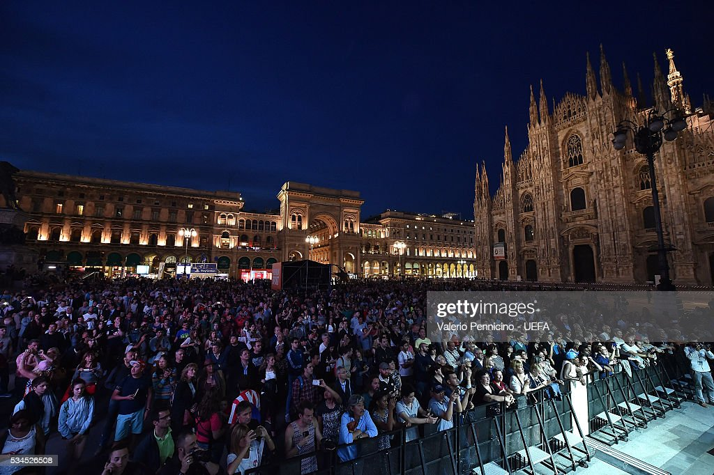 A general view during the Champions Festival prior to the final at Stadio Giuseppe Meazza on May 26, 2016 in Milan, Italy.