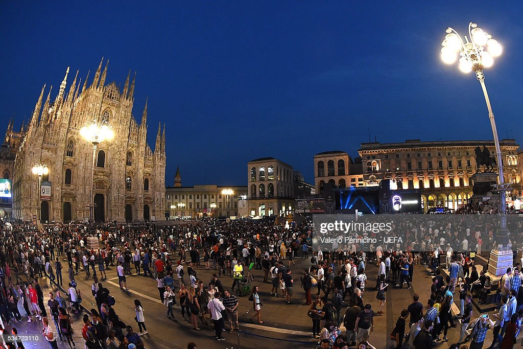 A general view during the Champions Festival prior to the final at Stadio Giuseppe Meazza on May 27, 2016 in Milan, Italy.