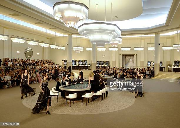 A general view during the Chanel show as part of Paris Fashion Week Haute Couture Fall/Winter 2015/2016 at the Grand Palais on July 7 2015 in Paris...