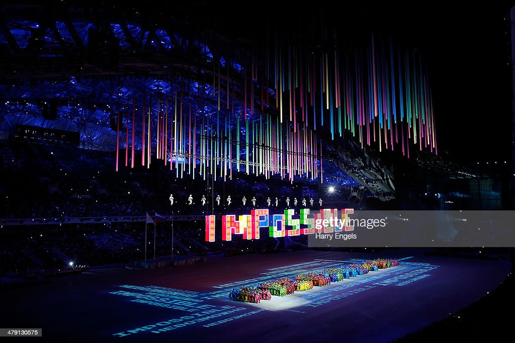 A general view during the Closing Ceremony of the 2014 Paralympic Winter Games at Fisht Olympic Stadium on March 16, 2014 in Sochi, Russia.
