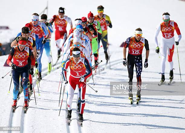 A general view during the Cross Country Men's 4x10km Relay on day 9 of the Sochi 2014 Winter Olympics at Laura Crosscountry Ski Biathlon Center on...