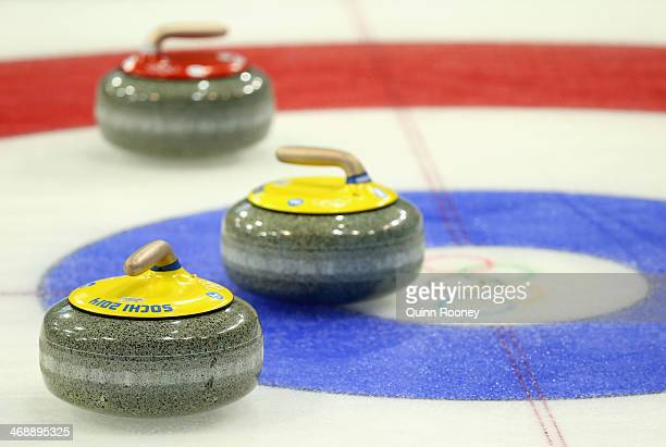A general view during the Curling Men's Round Robin match between USA and Denmark during day five of the Sochi 2014 Winter Olympics at Ice Cube...