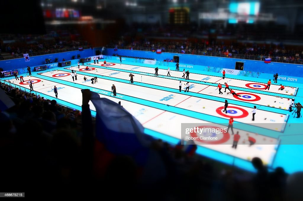 A general view during the Curling Women's Round Robin on day four of the Sochi 2014 Winter Olympics at Ice Cube Curling Center on February 11, 2014 in Sochi, Russia.