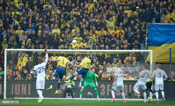 General view during the Danish Alka Superliga match between Brondby IF and FC Midtjylland at Brondby Stadion on April 17 2017 in Brondby Denmark