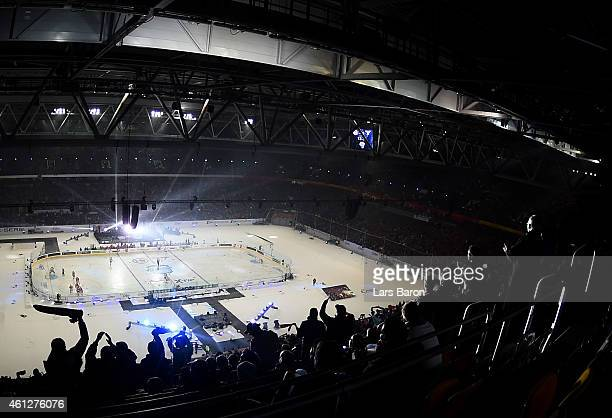 A general view during the DEL Winter Game between Duesseldorfer EG and Koelner Haie at Esprit Arena on January 10 2015 in Duesseldorf Germany