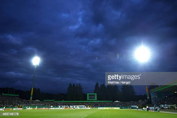 General view during the DFB Cup first round match between SV Darmstadt 98 and VfL Wolfsburg at Stadion am Boellenfalltor on August 17 2014 in...