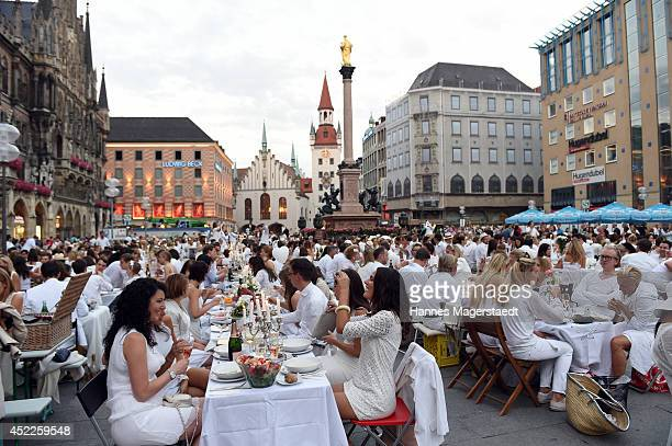 General view during the 'Diner en Blanc' at Marienplatz on July 16 2014 in Munich Germany