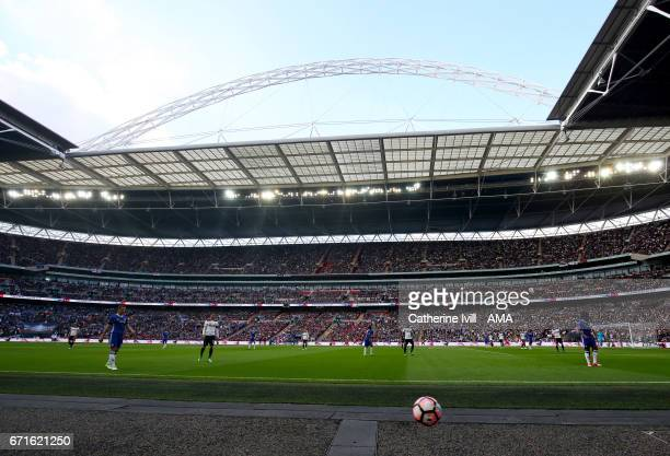 General view during the Emirates FA Cup semifinal match between Tottenham Hotspur and Chelsea at Wembley Stadium on April 22 2017 in London England