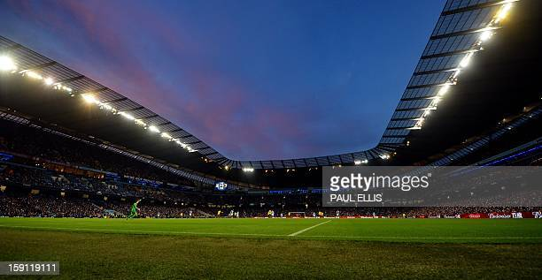 A general view during the English FA Cup football match between Manchester City and Watford at The Etihad Stadium in Manchester north west England on...