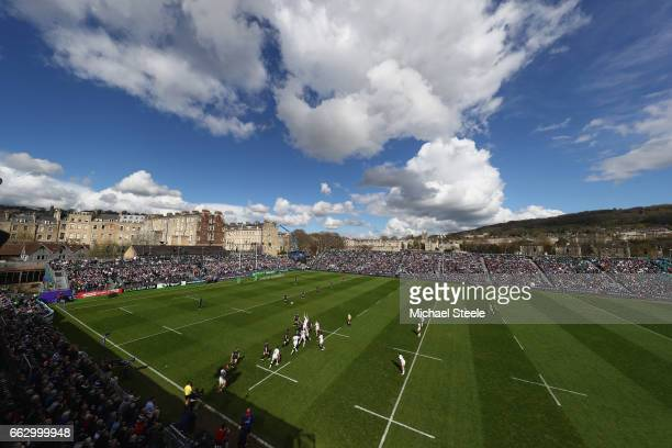 A general view during the European Rugby Challenge Cup Quarter Final match between Bath Rugby and Brive at the Recreation Ground on April 1 2017 in...