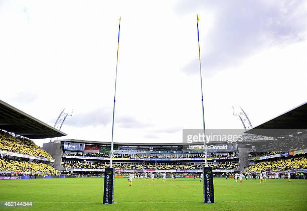A general view during the European Rugby Champions Cup Pool 1 match between Clermont Auvergne and Saracens at Stade Marcel Michelin on January 25...