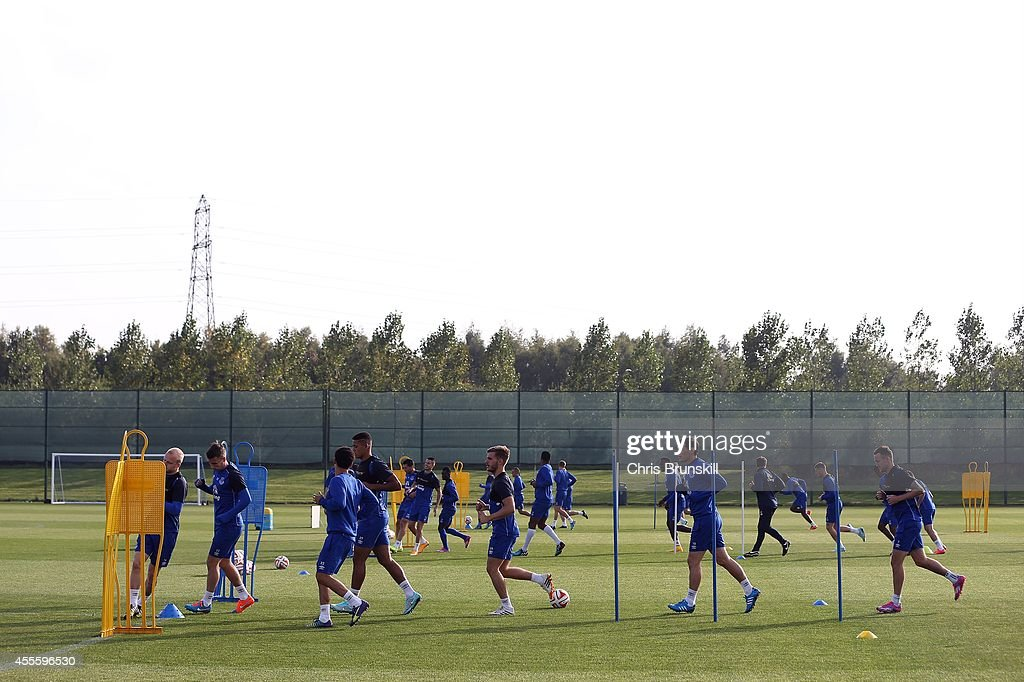 A general view during the Everton training session at Finch Farm on September 17, 2014 in Liverpool, England.