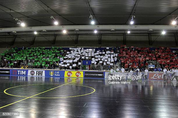 General view during the FIFA Futsal playoff match between Italy and Hungary on April 13 2016 in Prato Italy