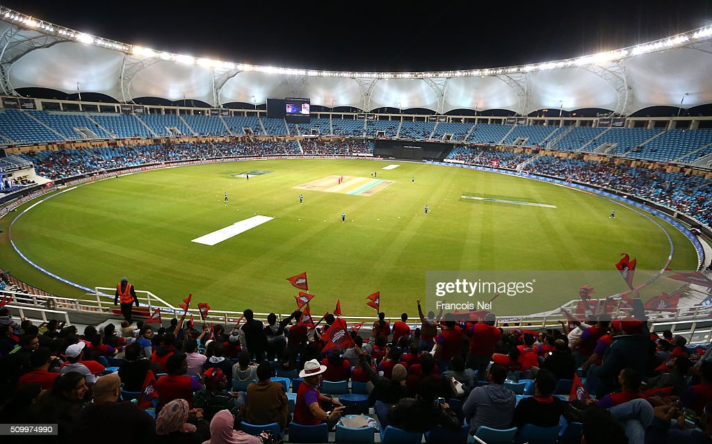 General View during the Final match of the Oxigen Masters Champions League between Gemini Arabians and Leo Lions at the Dubai International Cricket Stadium on February 13, 2016 in Dubai, United Arab Emirates.