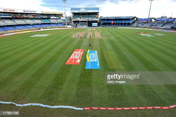 General view during the Final of the Cricket Caribbean Premier League between Guyana Amazon Warriors v Jamaica Tallawahs at Queen's Park Oval on...
