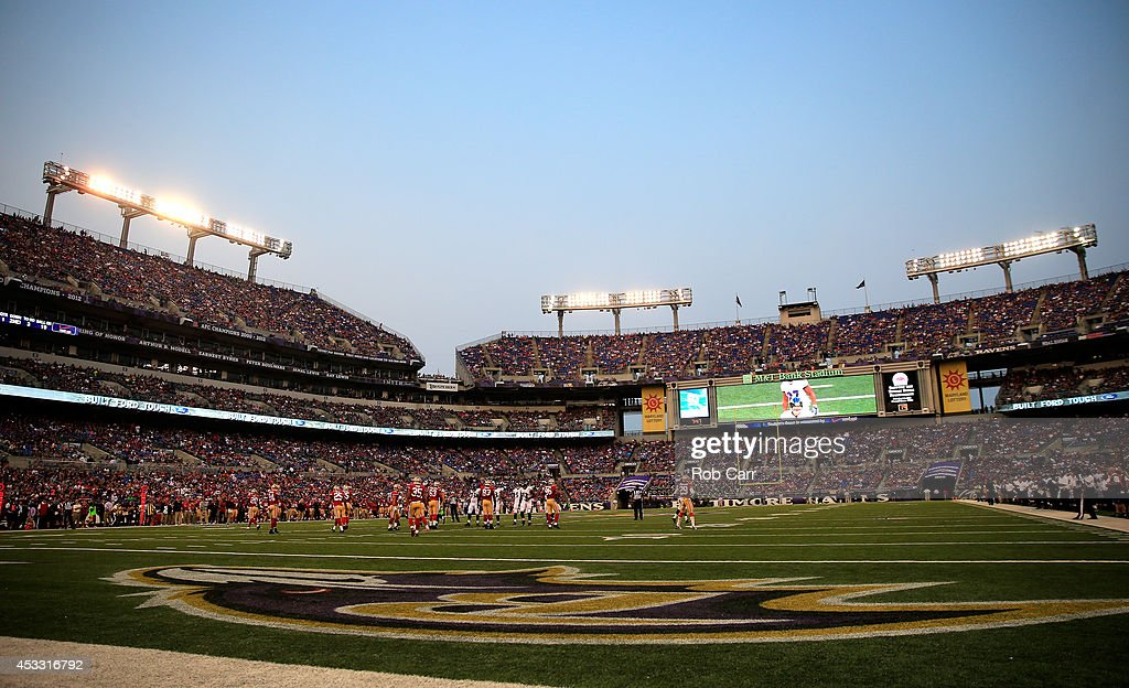 A general view during the first half of an NFL pre-season game between the Baltimore Ravens and San Francisco 49ers at M&T Bank Stadium on August 7, 2014 in Baltimore, Maryland.