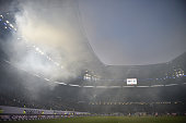 A general view during the first leg of the Bundesliga playoff match between Hamburger SV and Karlsruher SC at the Imtech arena on May 28 2015 in...
