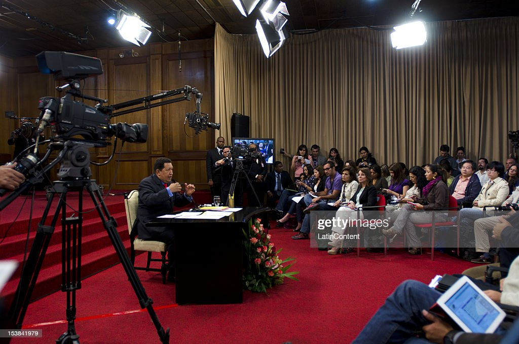 General view during the first press conference of the Venezuelan President Hugo Chavez after winning the national elections for President during the period 2013-2019, on October 09, 2012 in Caracas, Venezuela. Chavez won with the 55.14% (8.062.056 votes) while Henrique Capriles obtained 44,24% (6.468.450 votes).