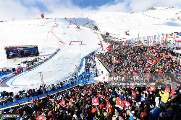 A general view during the FIS Alpine Ski World Championships Men's Downhill on February 11 2017 in St Moritz Switzerland