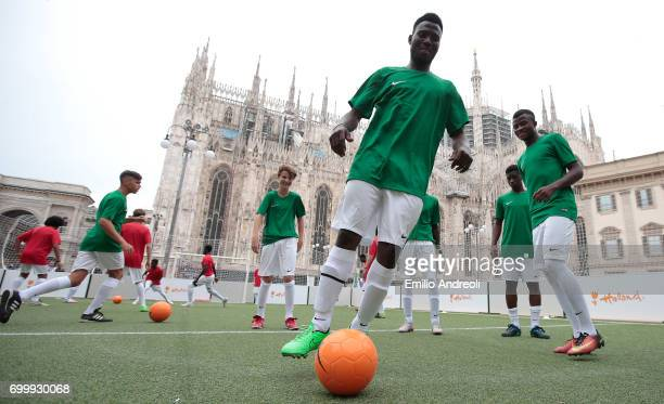 A general view during the football clinic for integration organized by Italian Football Federation on June 22 2017 in Milan Italy