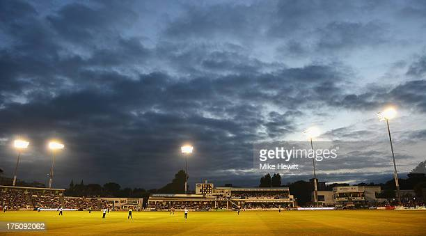 A general view during the Friends Life T20 match between Sussex Sharks and Kent Spitfires at BrightonandHoveJobscom County Ground on July 31 2013 in...