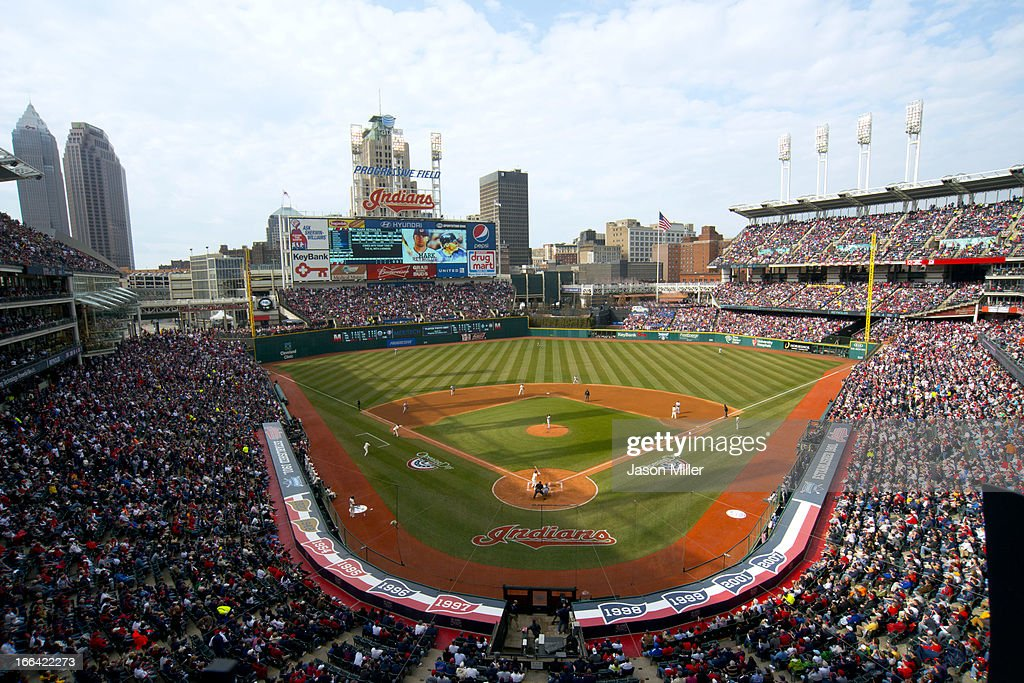 General view during the game between the Cleveland Indians and the New York Yankees on opening day at Progressive Field on April 8, 2013 in Cleveland, Ohio.