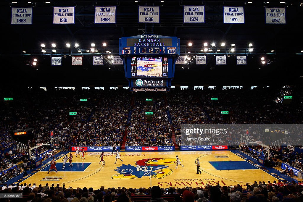 A general view during the game between the Nebraska Cornhuskers and the Kansas Jayhawks on February 21 2009 at Allen Fieldhouse in Lawrence Kansas