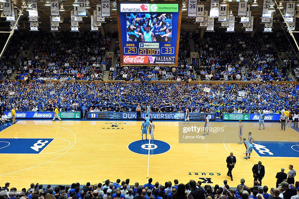 A general view during the game between the North Carolina Tar Heels and the Duke Blue Devils at Cameron Indoor Stadium on February 13, 2013 in Durham, North Carolina. Duke defeated North Carolina 73-68.