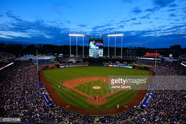 A general view during the game between the Oakland Athletics and the Kansas City Royals at Kauffman Stadium on April 18 2015 in Kansas City Missouri