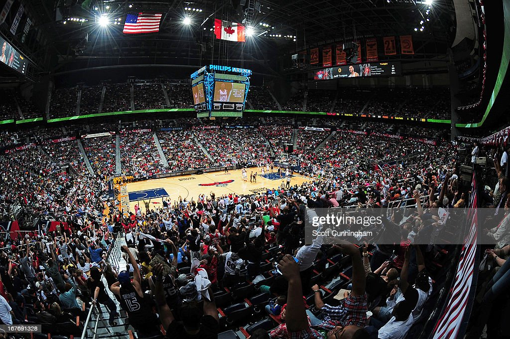 General view during the Game Three of the Eastern Conference Quarterfinals between the Indiana Pacers and the Atlanta Hawks in the 2013 NBA Playoffs on April 27, 2013 at Philips Arena in Atlanta, Georgia.