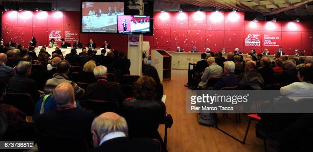 A general view during the Generali shareholders' meeting 2017 on April 27 2017 in Trieste ItalyThe Assicurazioni Generali insurance company was...