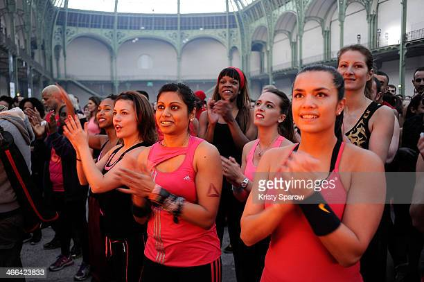 A general view during the Giant Fitness Course by Les Mills and Reekok at the Grand Palais on February 1 2014 in Paris France