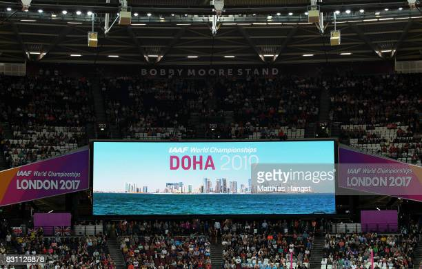 A general view during the handover ceremony during day ten of the 16th IAAF World Athletics Championships London 2017 at The London Stadium on August...