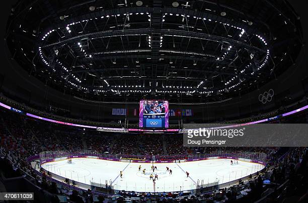 A general view during the Ice Hockey Women's Bronze Medal Game between Switzerland and Sweden on day 13 of the Sochi 2014 Winter Olympics at Bolshoy...