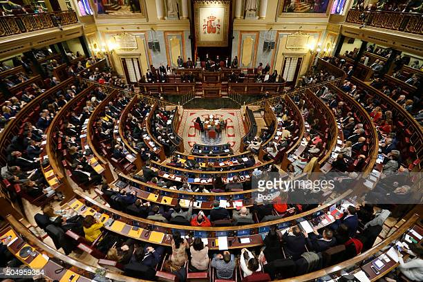 A general view during the inaugural meeting of the eleventh legislature of the Congress of Deputies at the Spanish Parliament on January 13 2016 in...