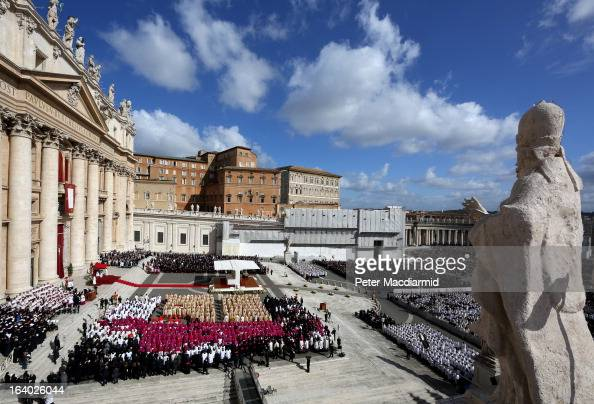 A general view during the Inauguration Mass for Pope Francis in St Peter's Square on March 19 2013 in Vatican City Vatican The mass is being held in...