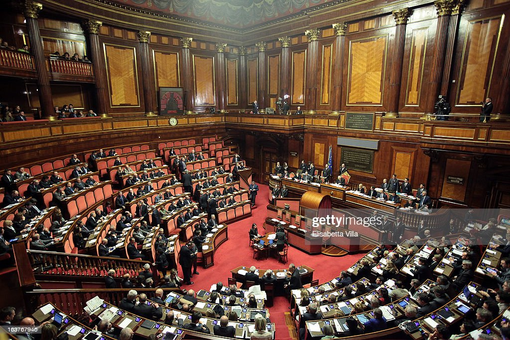 A general view during the Italian Parliament inaugural session at Senate on March 15, 2013 in Rome, Italy. The new Italian parliament, which opens the 17th Legislature, has the task of electing the President of the House of Parliament and of the Senate, before giving way to a new government. Pier Luigi Bersani, leader of the Democratic Party, asked his senators and representatives to vote blank votes with the intent to continue to work on an agreement with the Five Stars Movement (M5S) who have said it will vote only for its candidates for the presidency of House of Parliament and the Senate.