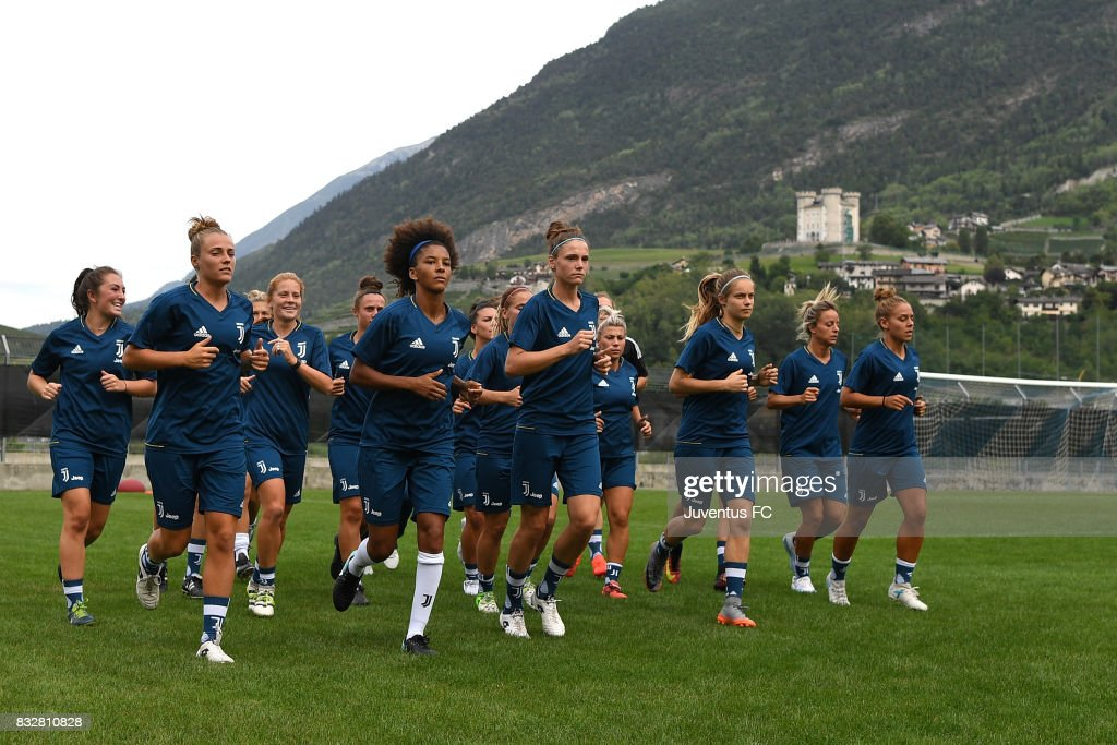 A general view during the Juventus Women training session on August 16, 2017 in Aymavilles near Aosta, Italy.