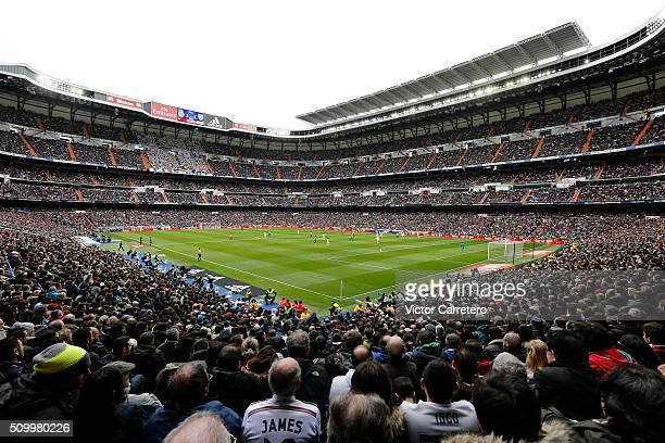 A general view during the La Liga match between Real Madrid CF and Athletic Club at Estadio Santiago Bernabeu on February 13 2016 in Madrid Spain