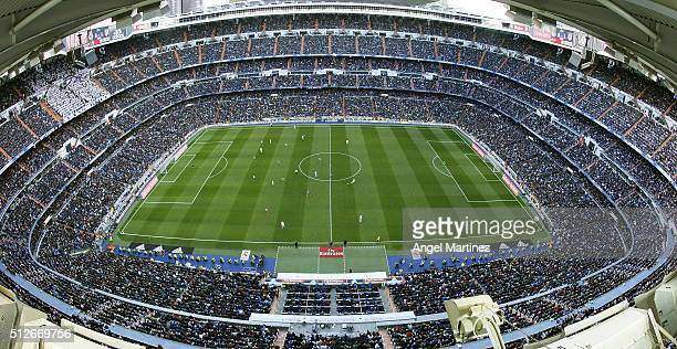 A general view during the La Liga match between Real Madrid CF and Club Atletico de Madrid at Estadio Santiago Bernabeu on February 27 2016 in Madrid...