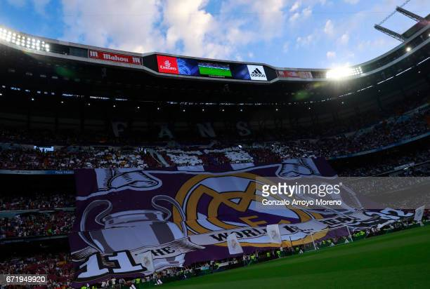 A general view during the La Liga match between Real Madrid CF and FC Barcelona at Estadio Bernabeu on April 23 2017 in Madrid Spain