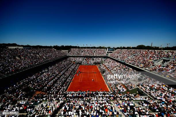 A general view during the ladies singles final match between Simona Halep of Romania and Jelena Ostapenko of Latvia on day fourteen of the 2017...
