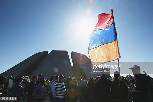 A general view during the laying of the flowers at the Genocide Memorial in Yerevan Armenia for the 101st anniversary of the Armenian Genocide on...